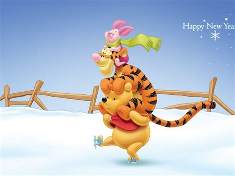 Winnie The Pooh Tigger And Piglet Sliding On Snow Happy